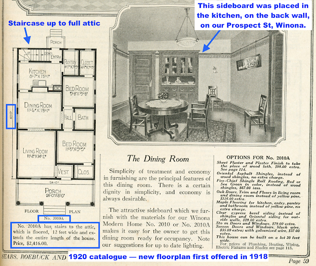 black and white catalog image of Sears Winona floor plan and dining room