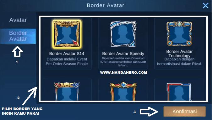 cara menggunakan avatar border mobile legends