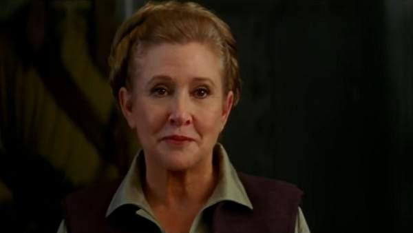 Carrie Fisher como la princesa Leia en la octava entrega de la saga de 'Star Wars'
