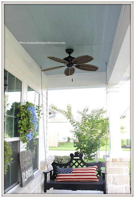 Porch Ceiling Makeover-Blue Porch Ceiling-Haint Blue-Southern Porch-Porch Swing- From My Front Porch To Yours