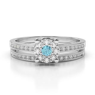 Aquamarine Bridal Set Rings