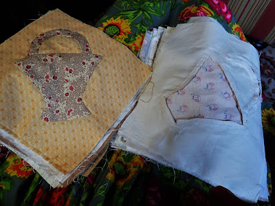 One Appliqued Basket and One with Back Fabric Removed