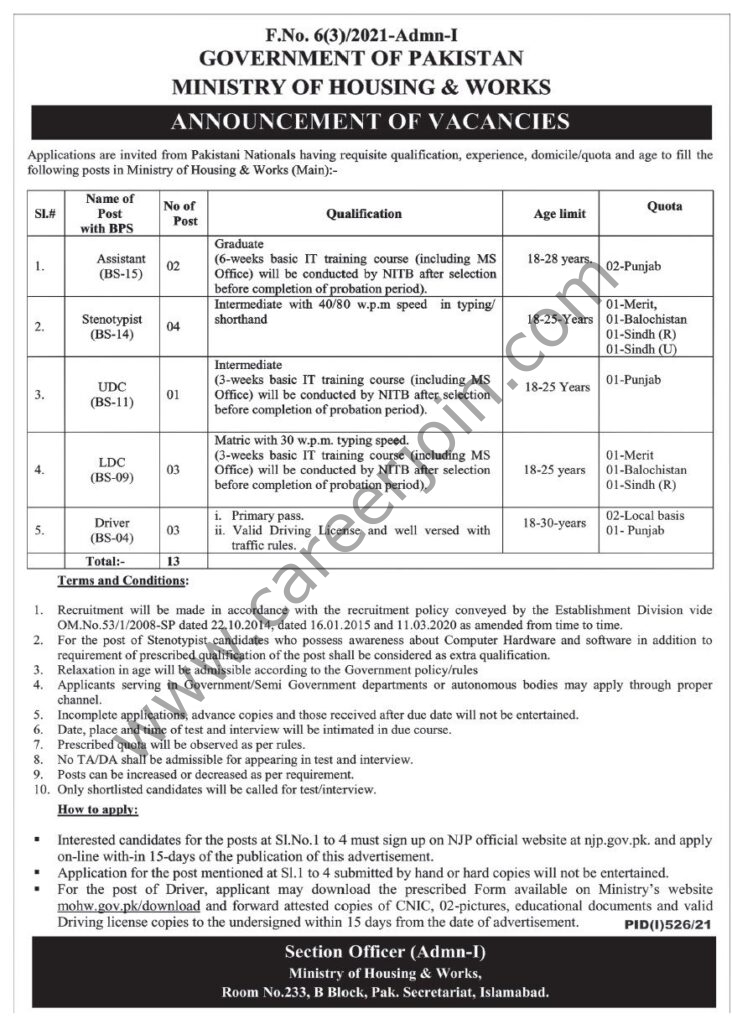 Ministry Of Housing & Works Jobs August 2021
