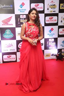 Actress Poonam Bajwa Pictures in Red Long Dress at Mirchi Music Awards South 2015  0083.JPG
