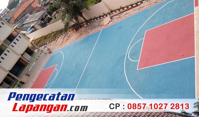 Proses Pengecatan Lapangan Basket Mini