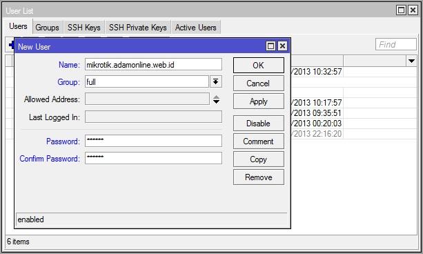 user mikrotik Cara Setting MikroTik Jadi SSH Tunnel Server