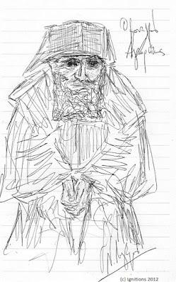 Ο μοναχός Αγιορείτης (Dessins) Σκίτσο του Αγίου Παϊσίου δια χειρός Ν. Λυγερού