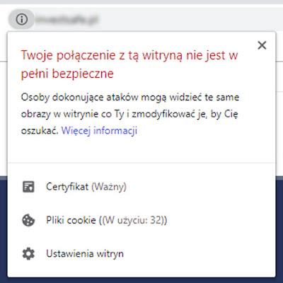 Twoje połączenie z tą witryną nie jest w pełni bezpieczne