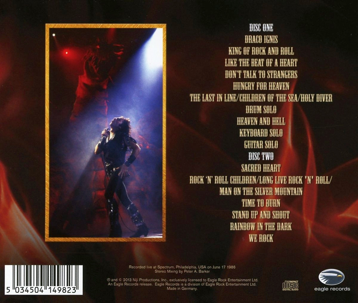 DIO - Finding The Sacred Heart ; Live In Philly 1986 (2013) back cover