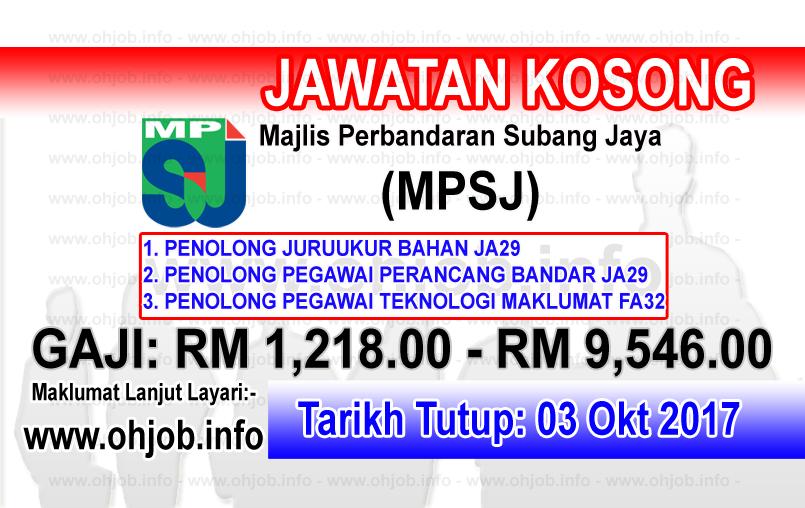 Jawatan Kerja Kosong MPSJ - Majlis Perbandaran Subang Jaya logo www.ohjob.info oktober 2017