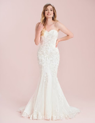 Costantina- a romantic contemporay fishtail champagne-ivory  wedding dress