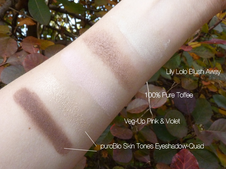 Swatches: Lily Lolo Blush Away, 100% Pure Eyeshadow Toffee, Veg-Up Pink & Violet, puroBio Skin Tones