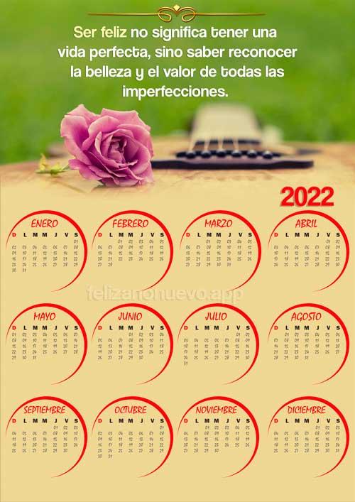 calendario 2022 con flores y frase para imprimir