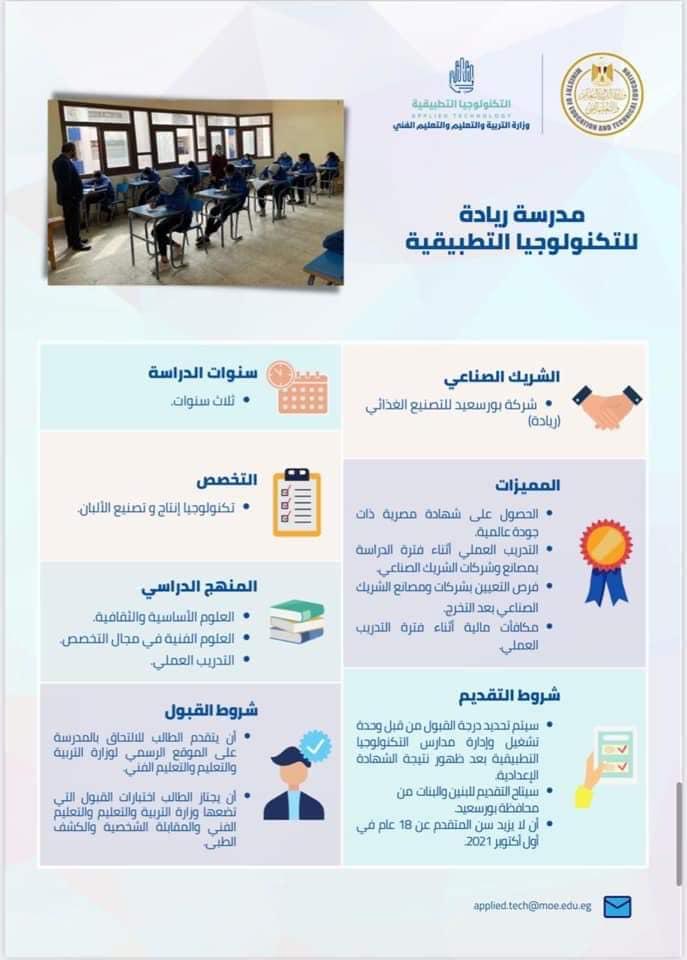 لطلاب الإعدادية .. فتح باب التقديم في 20 مدرسة للتكنولوجيا التطبيقية يوليو المقبل 0%2B%25282%2529