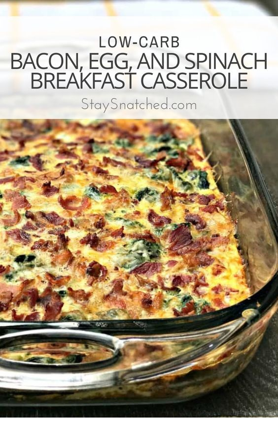 Low-Carb Bacon, Egg, And Spinach Breakfast Casserole