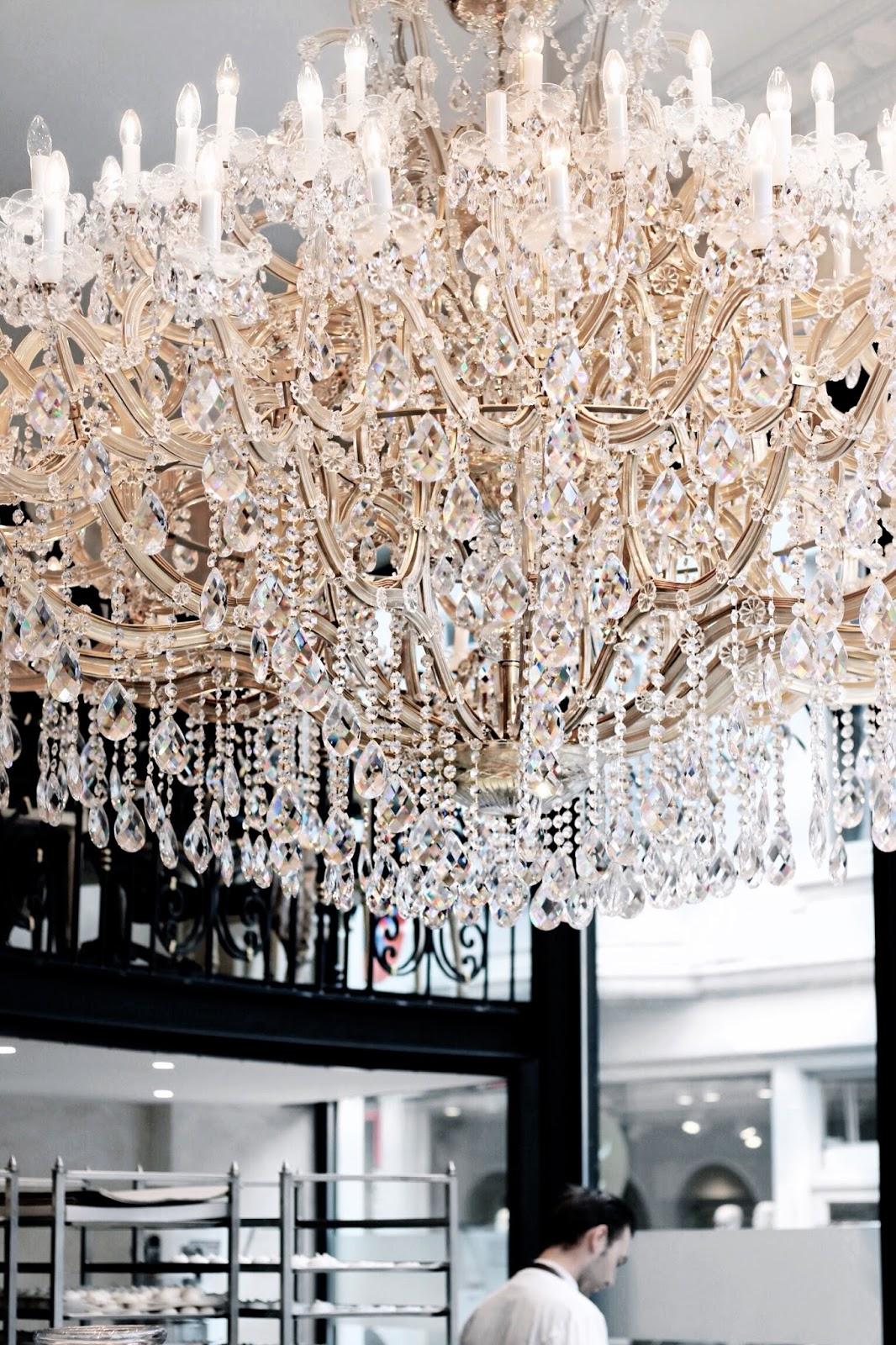 Elegant Cafe with Chandelier in Bruges Belgium