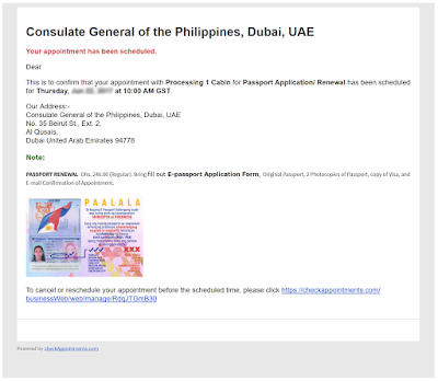 philippine passport renewal appointment email confirmation