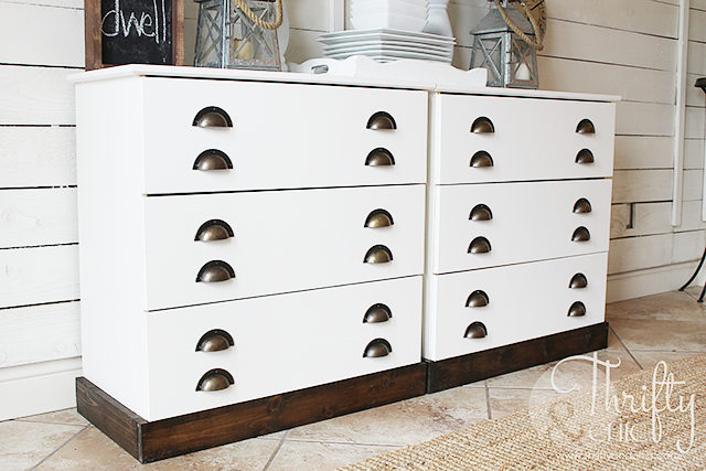 Ikea Tarva dresser hack -dresser turned into printer cabinet style buffet table!