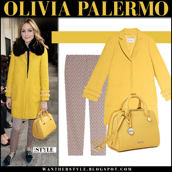 Olivia Palermo in yellow coat, printed trousers with yellow bag max and co milan fashion week front row outfits