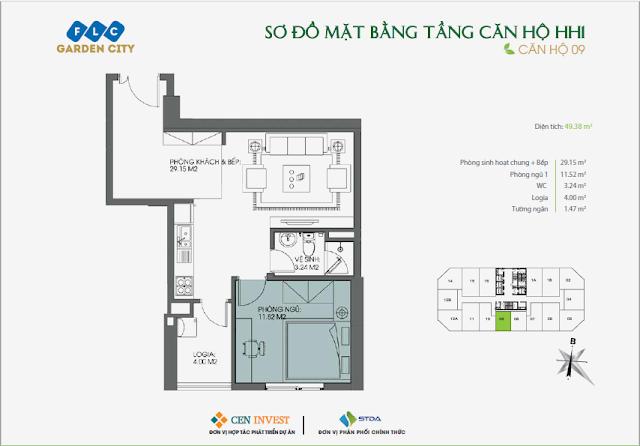 Thiết kế căn hộ 09, 49m, HH1 FLC Garden City