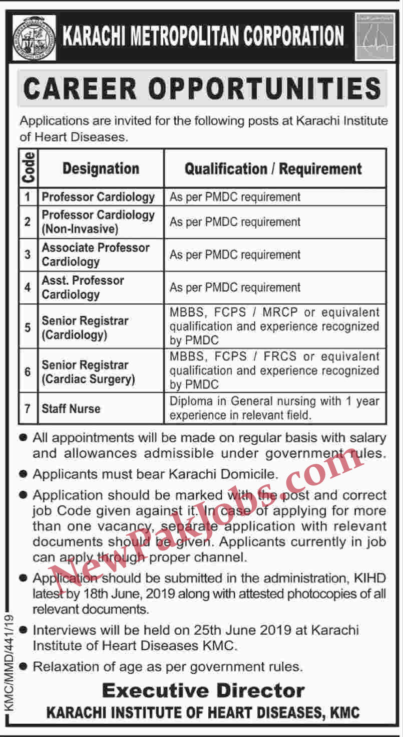 Karachi Metropolitan Corporation Latest Jobs
