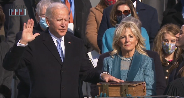 Joe Biden Inauguration Day 2021 Oath of Office small eyes squinting