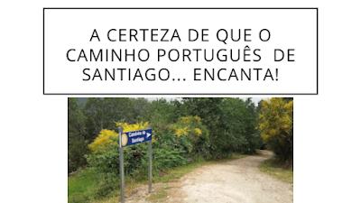 Caminho com uma placa do Caminho de Santiago