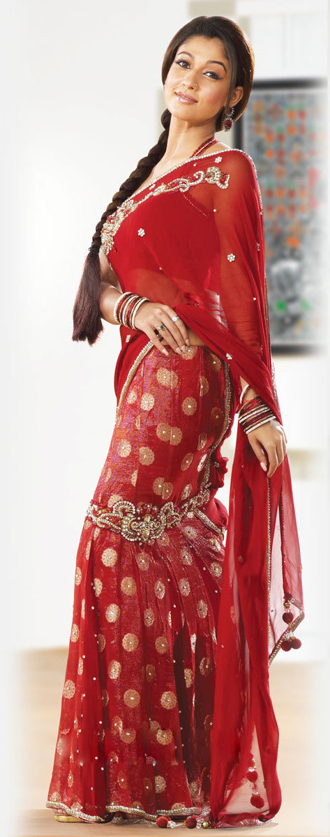 Actress Nayantara Red Saree