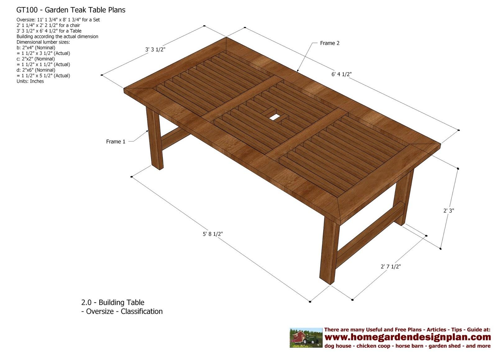 home garden plans: GT100 - Garden Teak Tables ...