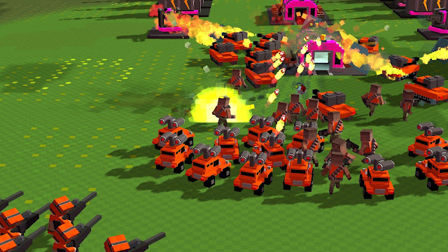 Screenshot of an attack force in the Guardians campaign from 8-Bit Armies