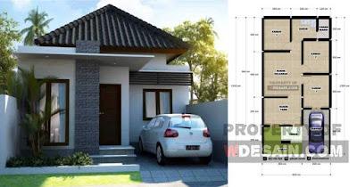 Desain Rumah 6x12 3 Kamar Tidur dan Tampak Depan