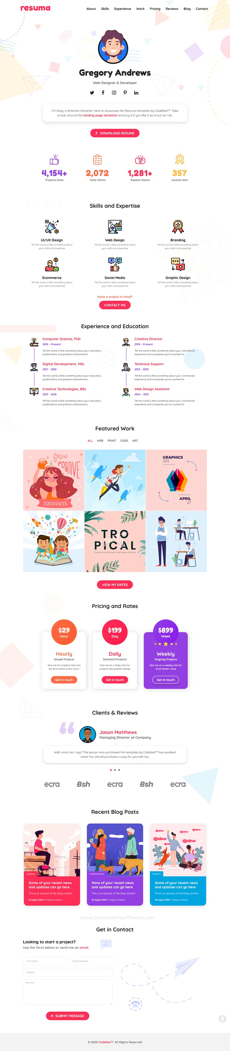 Personal Landing Page Template for Creatives