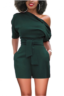 5 Chic and Classy Clothes for Fall 2020 - Eye-Catching Blackish Green One Shoulder Mini Jumpsuits With Belt