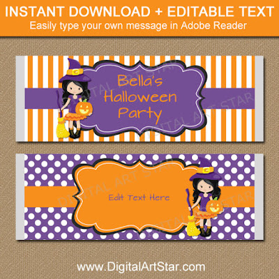 Girl Halloween Party favors - printable candy bar wrappers