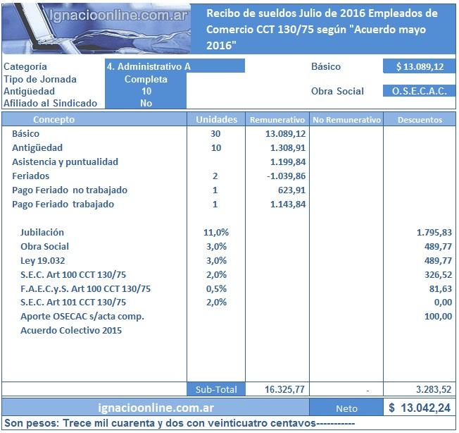 Ignacio online empleados de comercio liquidaci n julio for Liquidacion de nomina excel 2016