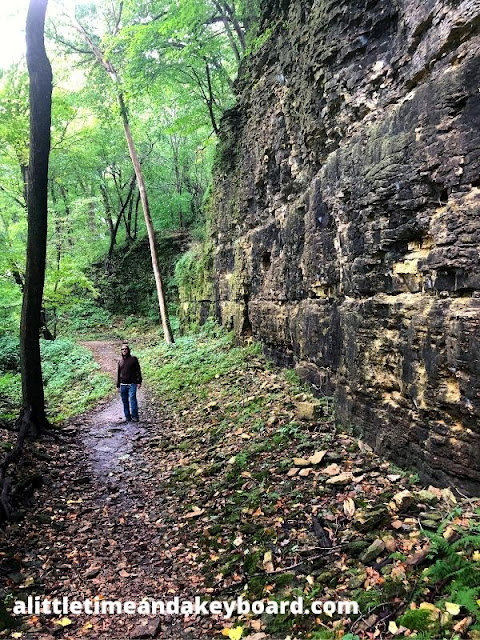 Admiring the escarpment while hiking Devil's Staircase in Janesville, Wisconsin.