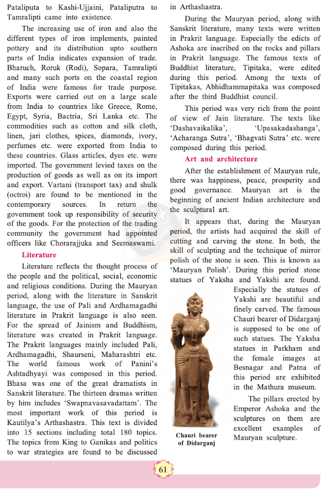 chapter 8 - India during Mauryan period Balbharati solutions for History 11th Standard Maharashtra State Board.