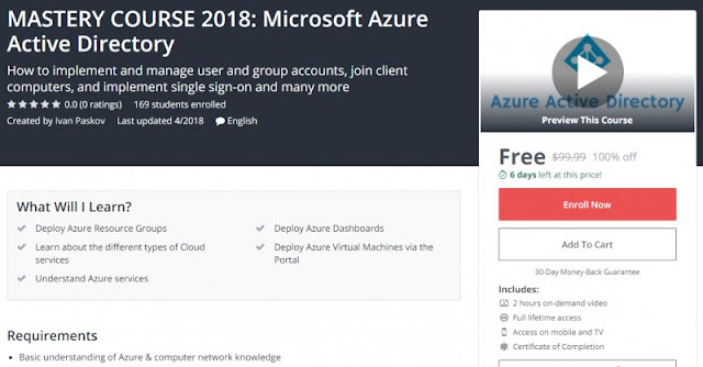 [100% Off] MASTERY COURSE 2018: Microsoft Azure Active Directory| Worth 99,99$
