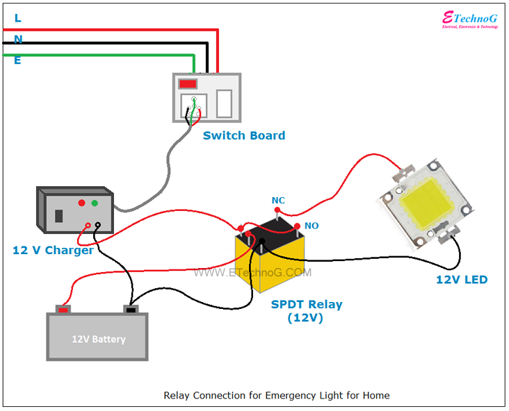 Relay Connection And Wiring Diagram For Emergency Light Etechnog