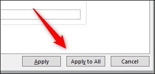 """انقر فوق """"تطبيق على الكل"""" لإضافة المحتوى الخاص بك إلى جميع الشرائح في العرض التقديمي الخاص بك."""