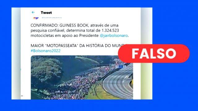 Bolsonaristas infla motociata de Bolsonaro de 12 mil para 1,3 milhão motos, mais que a frota de SP