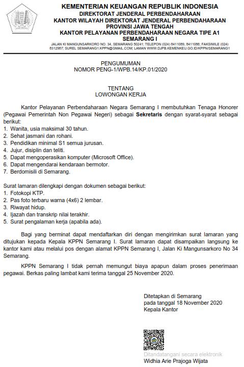 Lowongan Kerja PPNPN DJPB Kemenkeu November 2020