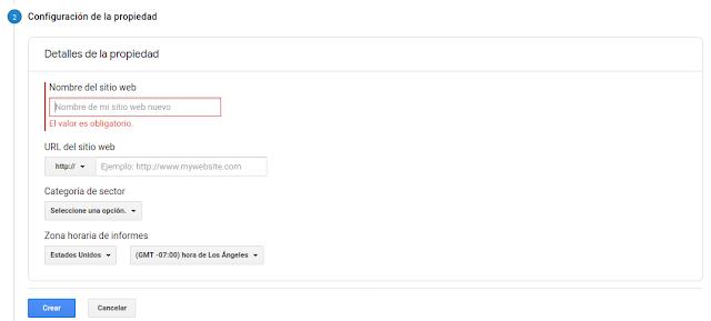Menú de configuración de nueva propiedad en Google Analytics