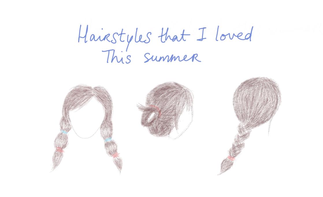 Drawings of summer hair styles tied up braid
