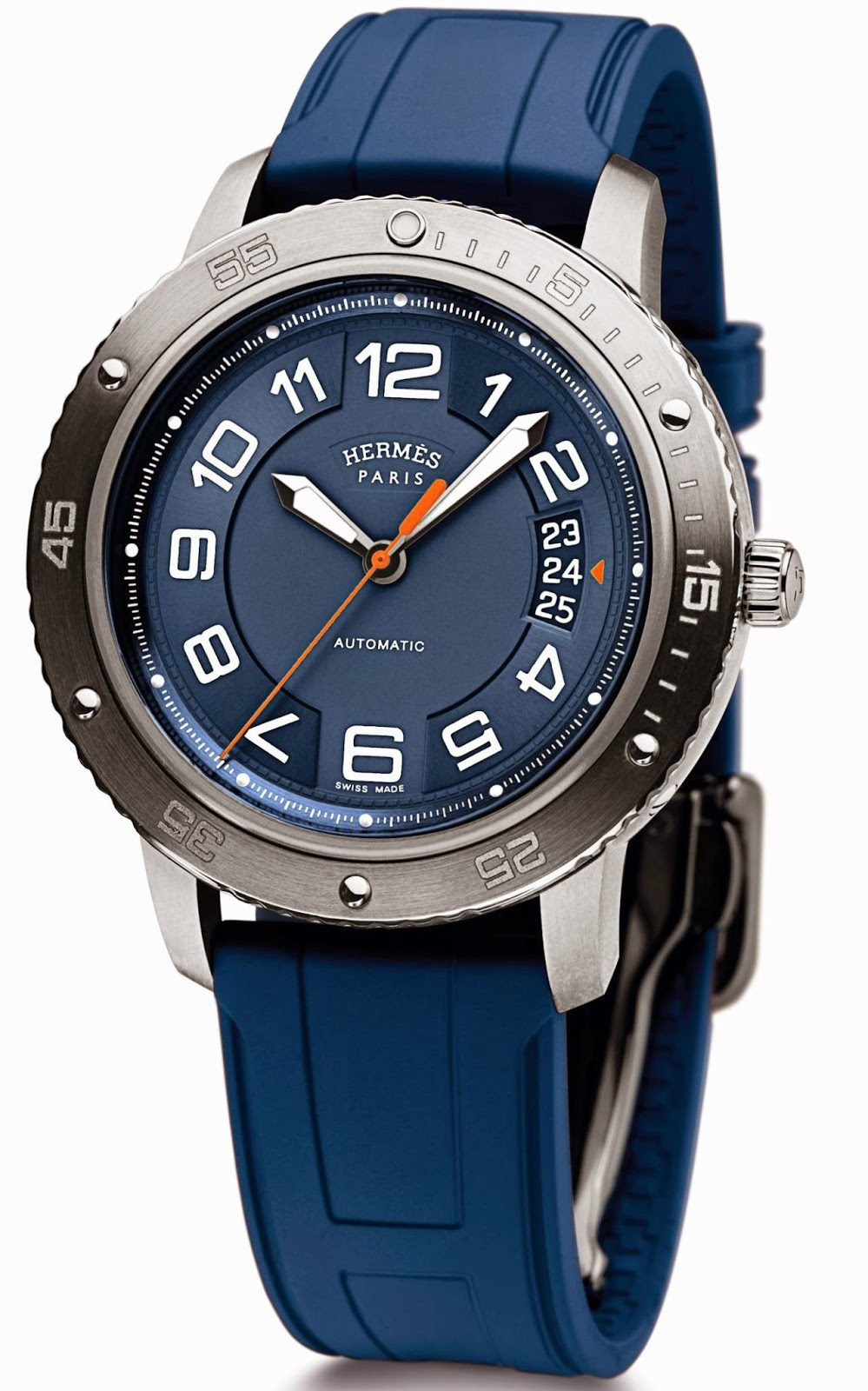 Hermès Clipper Sport automatic watch with blue rubber strap