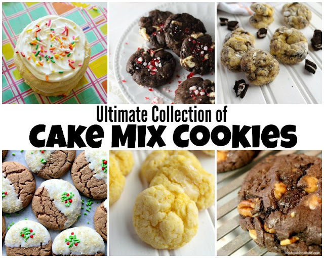 collage of cookies made with cake mixes, vanilla sprinkle cookies, chocolate cookies, and everything in between