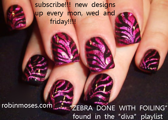 Nail Art Design Magenta Nails Pink And Black Zebra Nail Zebra