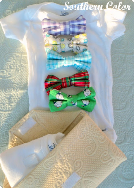 Southern Color Baby Onesie With Velcro Bowties
