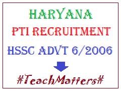 image: Haryana PTI Recruitment 2020: HSSC Advt. 06/2006 @ TeachMatters