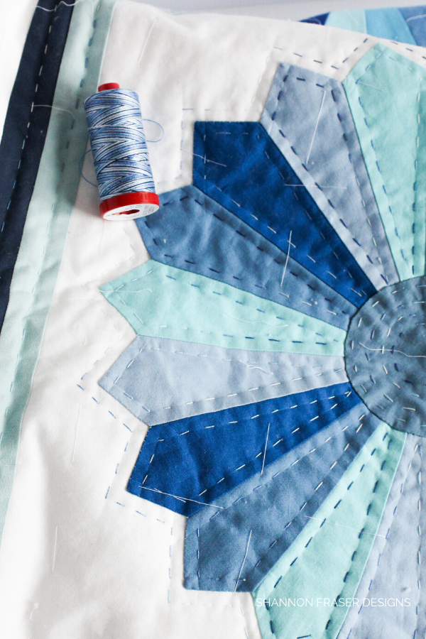 Blue Dresden Plate Quilt | Honest state of a modern quilter's WIP List | Q1 2020 Finish-a-Long | Shannon Fraser Designs #modernquilter #worksinprogress #handquilted #dresdenplatequilt